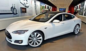Tesla Model S front quarter showroom