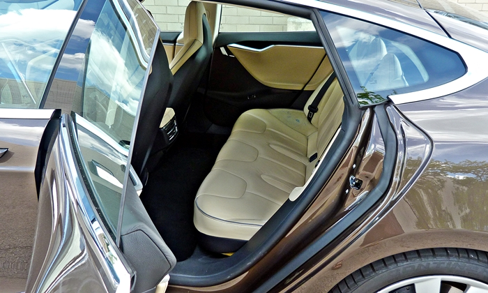 Model S Reviews: Tesla Model S rear seat
