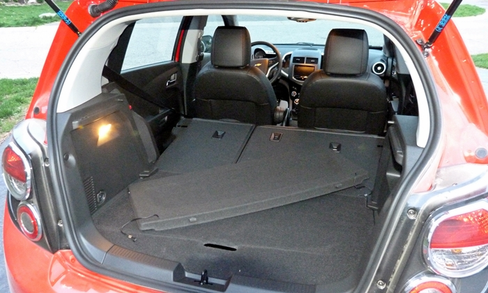 Sonic Reviews: Chevrolet Sonic RS cargo area seats folded