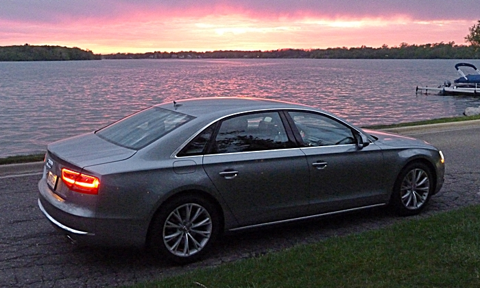 Audi A8 / S8 Photos: Audi A8 L rear quarter sunset