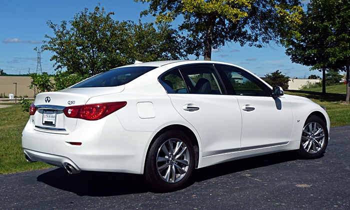 Q50 Reviews: Infiniti Q50 rear quarter view