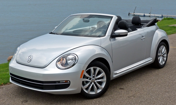 VW Beetle Convertible front quarter view top down