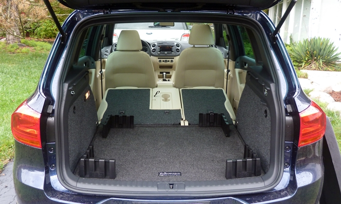Tiguan Reviews: Volkswagen Tiguan R-Line cargo area seats folded