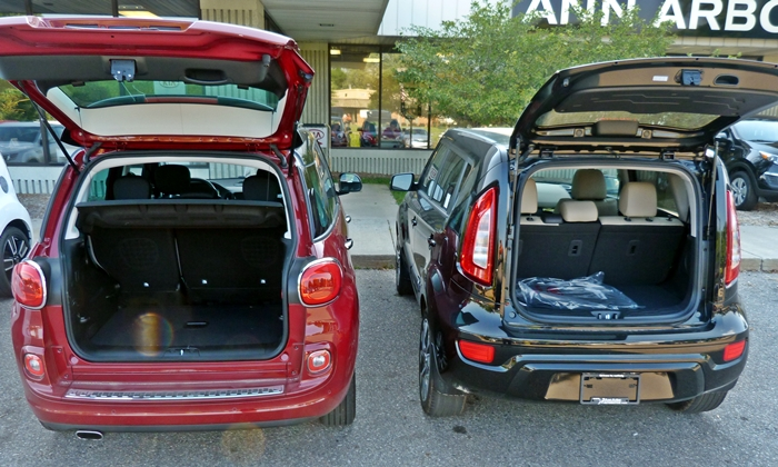 Kia Soul Photos: Fiat 500L vs 2012 Kia Soul cargo area