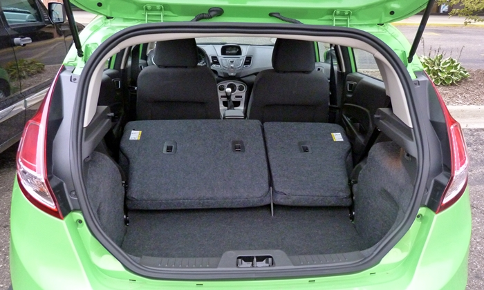 Ford Fiesta Photos: Ford Fiesta SE cargo area seats folded
