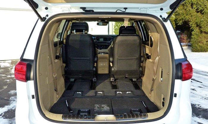 Sedona Reviews: Kia Sedona SXL max cargo volume