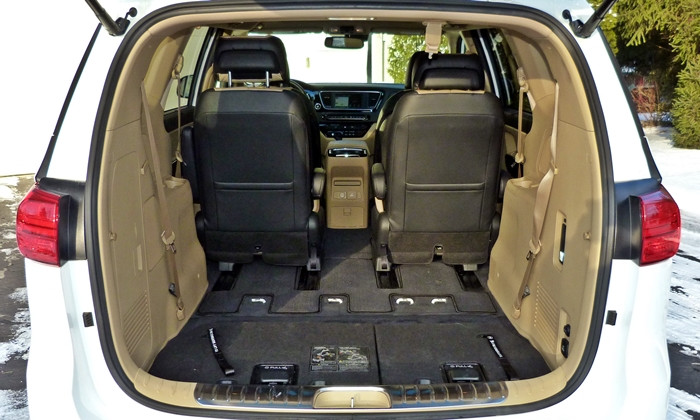 Kia Sedona Photos: Kia Sedona cargo volume third row stowed