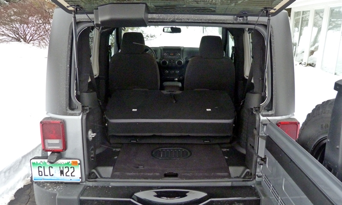 Wrangler Reviews: Jeep Wrangler cargo area seat folded