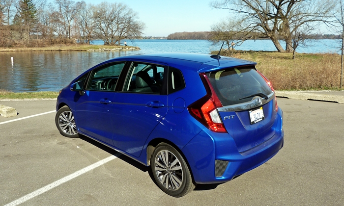 Honda Fit Photos: 2015 Honda Fit rear quarter high view