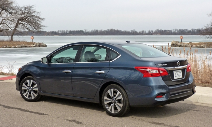 Sentra Reviews: Nissan Sentra rear quarter view