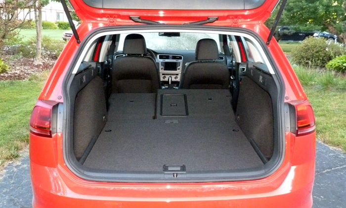 Golf / GTI Reviews: Golf SportWagen cargo area, seats folded